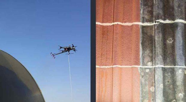nettoyer sa toiture avec un drone